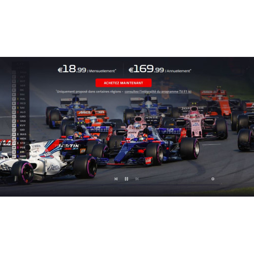 formule 1 en streaming le service officiel f1 tv pro et ses tarifs d voil s. Black Bedroom Furniture Sets. Home Design Ideas