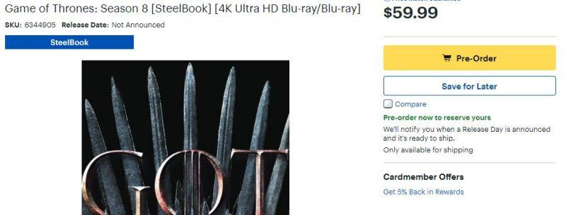 Game Of Thrones Saison 8 Apercu En 4k Ultra Hd Blu Ray Aux Usa